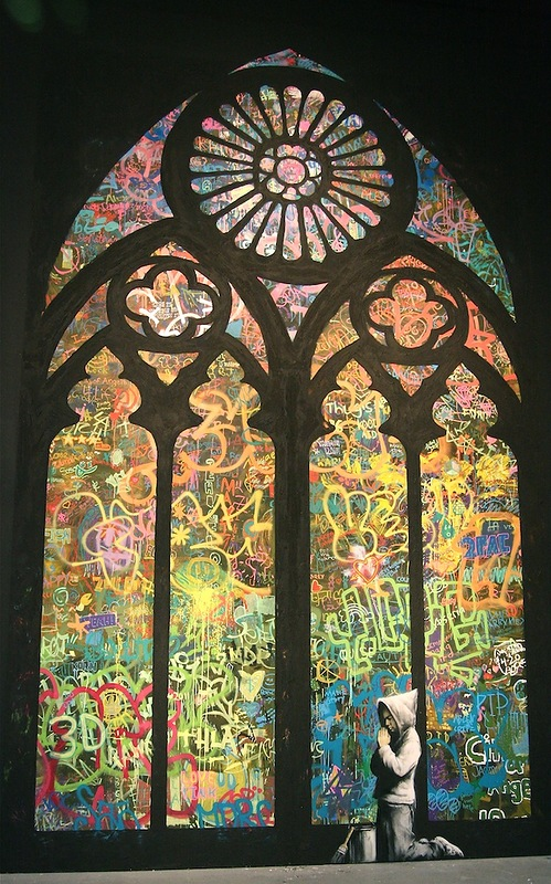 Banksy Stained Glass Cathedral Window. Coolest street art
