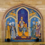 Paintings and mosaics decorate the walls