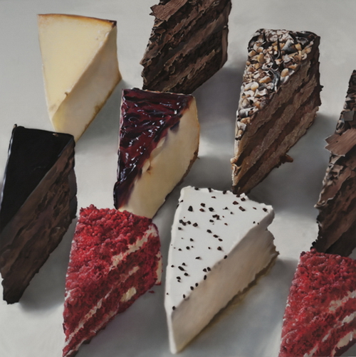 A set of cakes. Hyper-realistic paintings American artist Ben Schonzeit