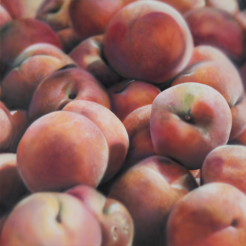 peaches. Hyper-realistic paintings American artist Ben Schonzeit