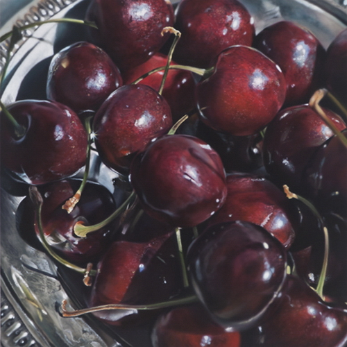 Juicy cherry. Hyper-realistic paintings American artist Ben Schonzeit
