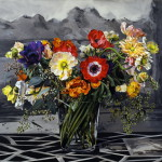 Flowers in a glass vase. Still life. Hyper-realistic paintings American artist Ben Schonzeit