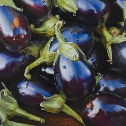 Eggplant. Hyper-realistic paintings American artist Ben Schonzeit