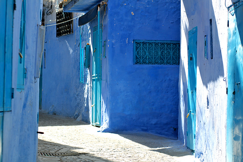 Blue architecture of Chefchaouen in Morocco