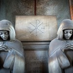 Two nuns in hoods. Chimitero Monumental in Milan