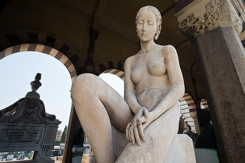 Naked girl sculpture. Chimitero Monumental in Milan