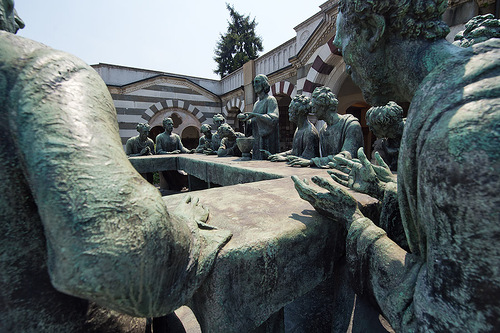 Detail of sculptural composition The Last Supper. Chimitero Monumental in Milan