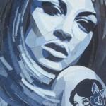 Woman's portrait. Denim art by British artist Ian Berry