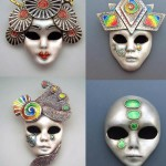 Four Colourful Carnival Mask pendants