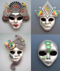 Four Colourful Carnival Mask pendants