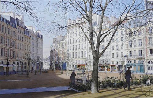 Morning in the city. Hyper realistic painting by French artist Thierry Duval