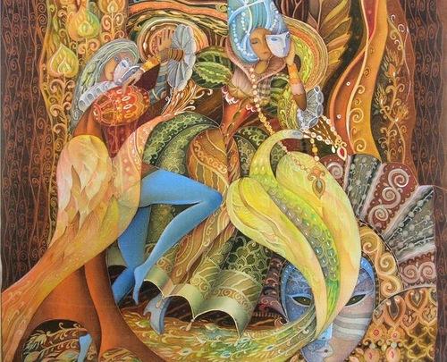 Stunningly beautiful Painting on silk by Russian artist Lyubov Toshcheva