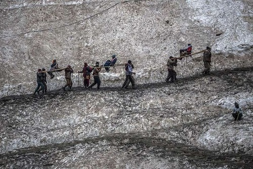 Near the sacred Amarnath Cave, on June 28, 2012. Hindu devotees brave sub-zero temperatures to hike over glaciers and high altitude mountain passes to reach the sacred cave