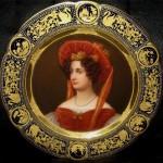 Painting portraits on porcelain plates