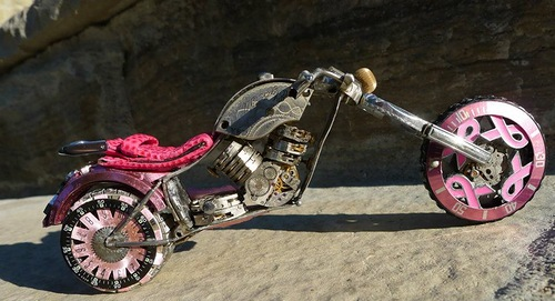 One of collection of miniature motorcycles made from vintage watch parts. Work by Dan Tanenbaum, Canada