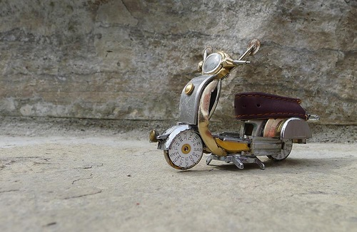 Handmade from vintage watch parts miniature motorcycle, work by Dan Tanenbaum, Canada