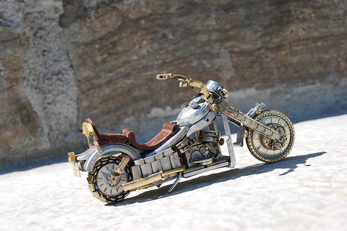 One-of-a-kind miniature motorcycle from vintage watch parts, made by Dan Tanenbaum, Canada