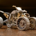 Three-wheeled Miniature motorcycle from vintage watch parts, made by Dan Tanenbaum, Canada