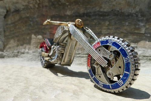 Made from vintage watch parts miniature motorcycle, work by Dan Tanenbaum, Canada