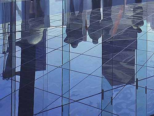 Beautiful photo-like image - reflection in glass. Hyper realistic painting by British artist Nathan Walsh