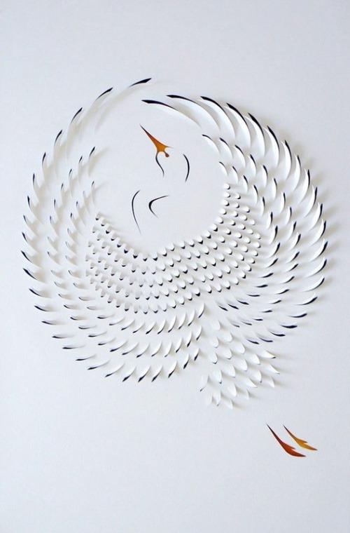 A stork. Paper Art by Australian artist Lisa Rodden