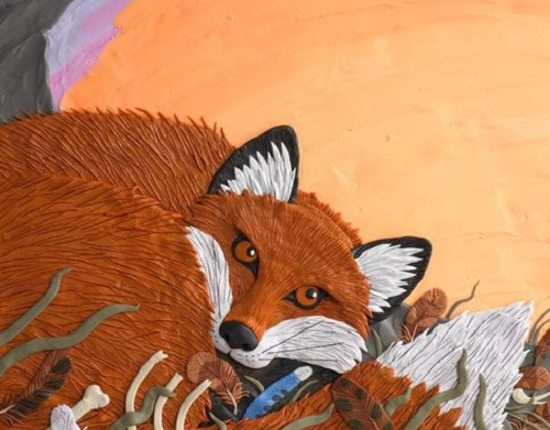 "The book titled ""Fox walked alone"". Plasticine illustrations by Canadian artist Barbara Reid"