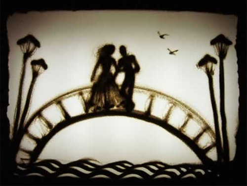Romantic couple on the bridge