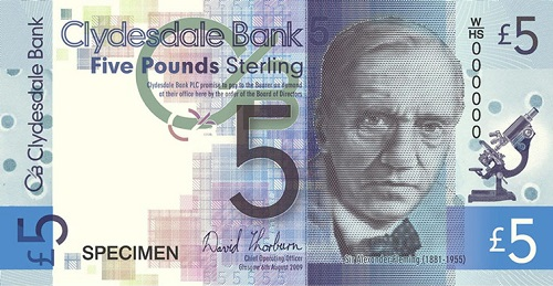 Sir Alexander Fleming, penicillin inventor and and Nobel Prize winner on a new five pound note