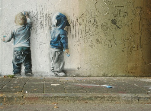 Realistic image of Boys drawing on walls. Street Art by By Codex Inferno