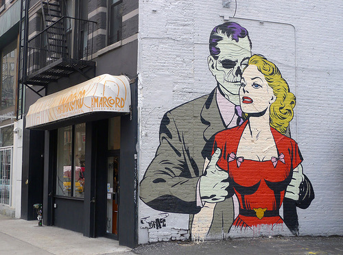 Beauty and the beast. Street art by by Dface, New York City