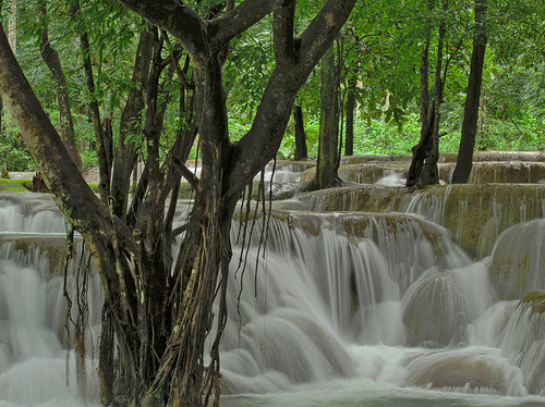 Most spectacular waterfalls. Tad Sae Waterfalls, Laos