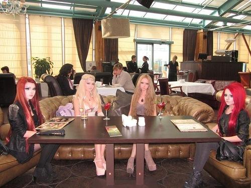 The summit of barbie dolls. From left to right - Nastya Shpagina, Olga Oleinik (Dominika), Valeria Lukyanova (Amatue), and simply Barbie.