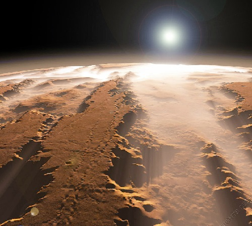 The biggest canyon in the Solar System, Valles Marineris. Photo by NASA World Wind