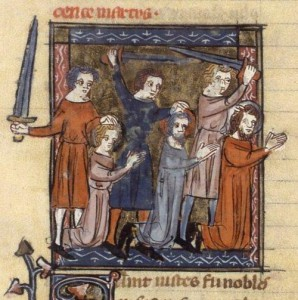 The martyrdom of Vitus, Modestus, and Crescentia, from a fourteenth century manuscript.
