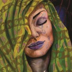 Green and purple. Female image in painting by Peruvian artist Alberto Loli Narvaes