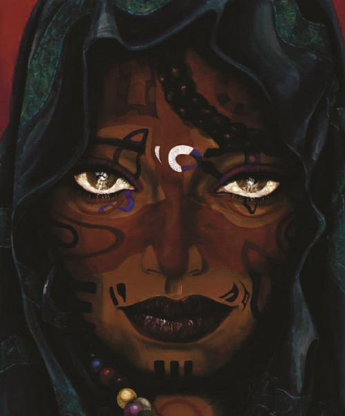Woman's face in the night. Painting by Peruvian artist Alberto Loli Narvaes
