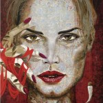 Dark red. Female image in painting by Peruvian artist Alberto Loli Narvaes