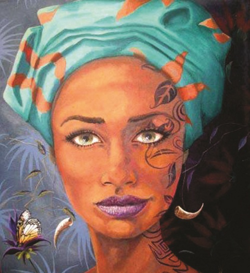 Patterns and Butterfly. Female image in painting by Peruvian artist Alberto Loli Narvaes