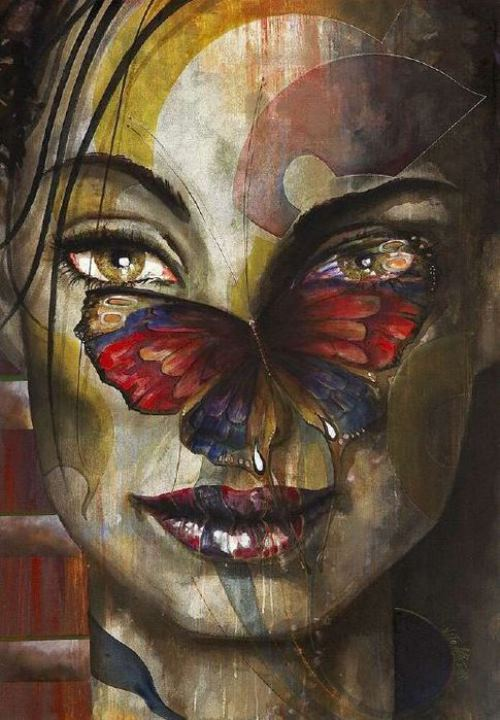 Bright butterfly. Female image in painting by Peruvian artist Alberto Loli Narvaes