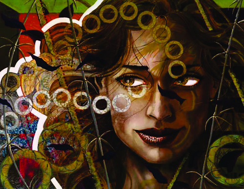 Circles and lines. Female image in painting by Peruvian artist Alberto Loli Narvaes