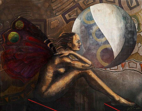 Cosmic beauty. Female image in painting by Peruvian artist Alberto Loli Narvaes