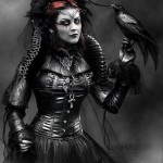 "Beautiful Gothic image of a woman with a black crow. Titled ""c_o_r_v_u_s_c_o_r_a_x_by_j_u_d_a_s"". Digital art by British artist Paul"
