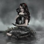 "A beautiful girl with a black cat. Gothic image titled ""f_e_l_i_n_e_by_j_u_d_a_s"". Digital art by British artist Paul"