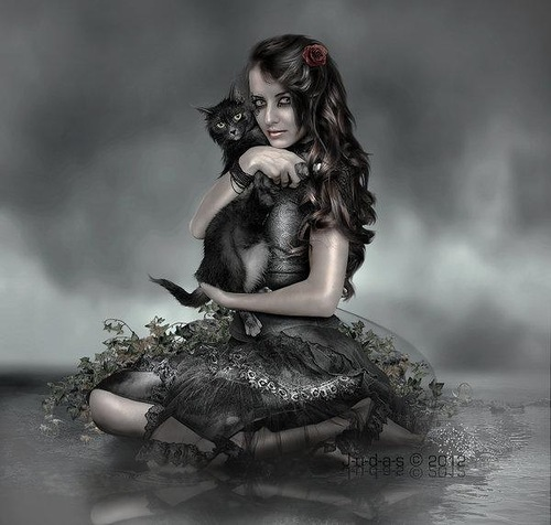 """A beautiful girl with a black cat. Gothic image titled """"f_e_l_i_n_e_by_j_u_d_a_s"""". Digital art by British artist Paul"""