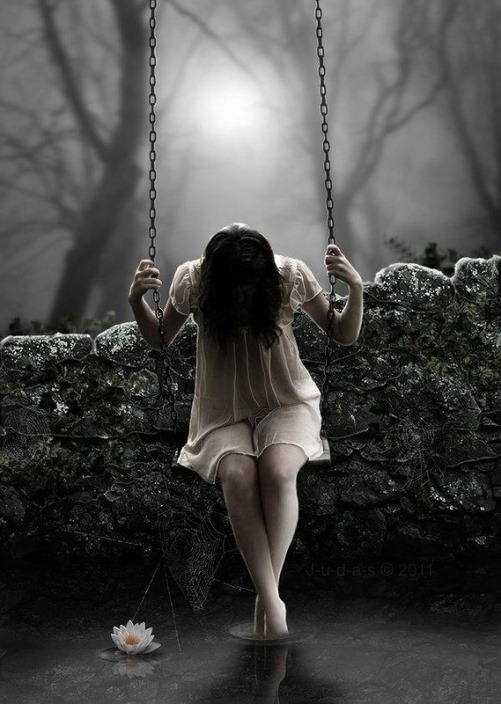 Girl on the swing. i_s_o_l_a_t_e_by_j_u_d_a_s. Digital art by British artist Paul