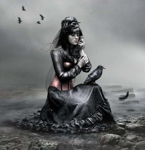 """Gorgeous Gothic girl with a black crow. The image titled """"l_o_y_a_l_t_y_by_j_u_d_a_s"""". Digital art by British artist Paul"""