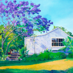 Jacaranda Tree, painting by American artist Donald A. Jusko