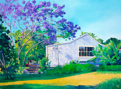 Jacaranda Tree, painting by American artist Donald A. Jusko
