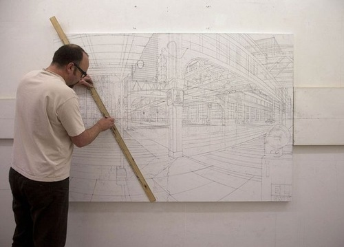 British artist Nathan Walsh working on his painting