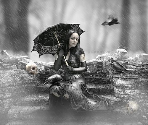 A girl with an umbrella, reign_over_me_by_j_u_d_a_s. Digital art by British artist Paul